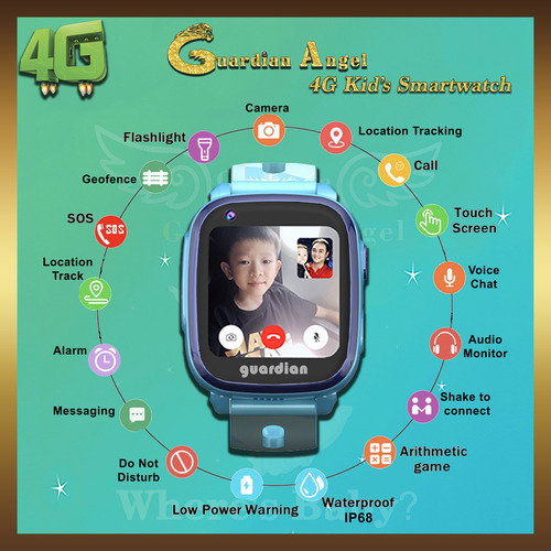 Guardian Angel Ai 4G Kids Smartwatch Blue
